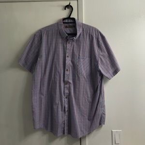 Men's XXL Blue and Red Striped Button Up Shirt